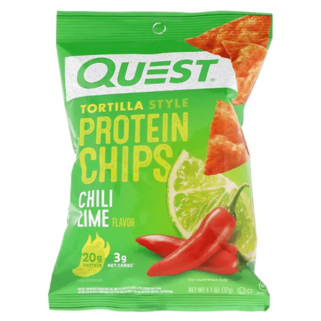 Quest Nutrition - Tortilla Style Protein Chips, Chili Lime, 8 Bags - 1.1 oz (32 g) Each - AM VITAMINS