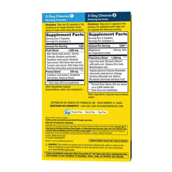 Renew Life - 3-Day Cleanse, Total-Body Reset Advanced Herbal Formula - 12 Vegetable Capsules - AM VITAMINS