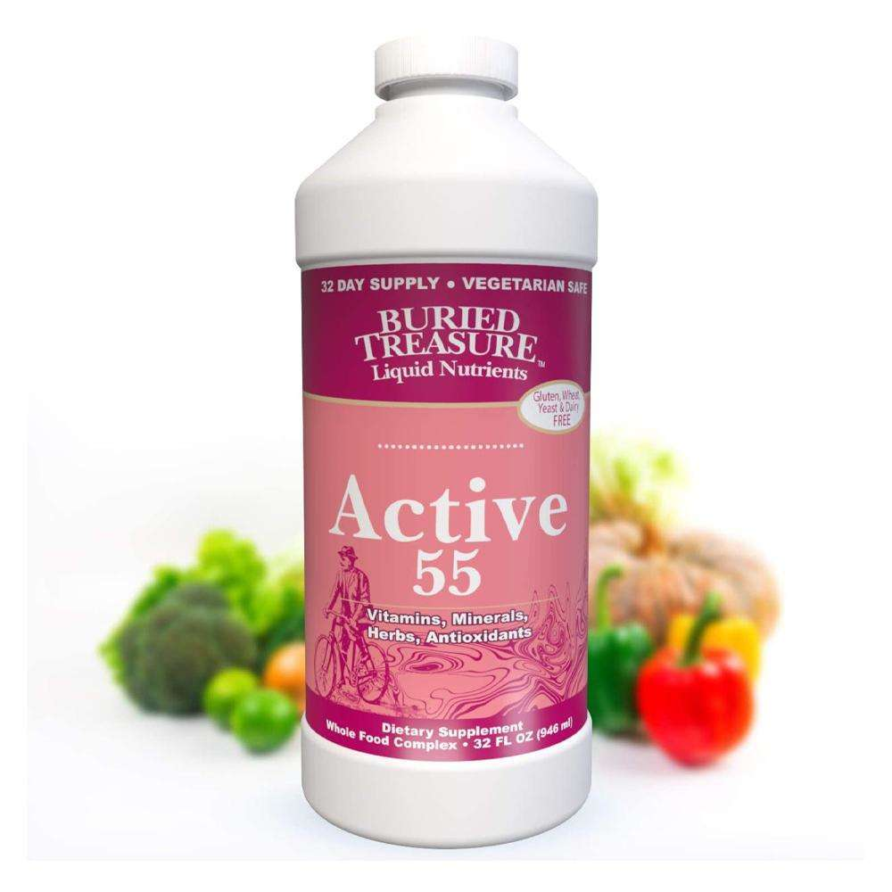 Active 55 Vitamins Minerals Herbs and Antioxidants - 32 fl oz - Buried Treasure - AM VITAMINS