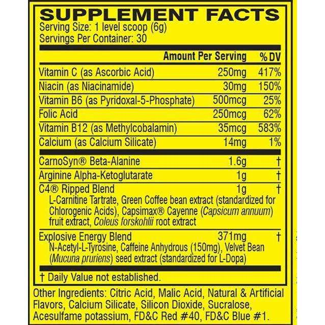 Cellucor - C4 Ripped Pre-Workout, Berry Brainiacs - 6.3 oz (180 g) - AM VITAMINS