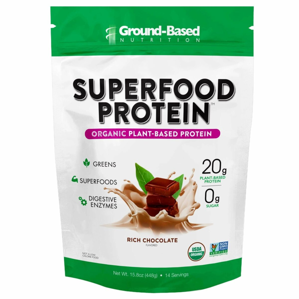 Ground Based - Superfood Protein  –  Rich Chocolate (Pouch) 14 Servings - AM VITAMINS